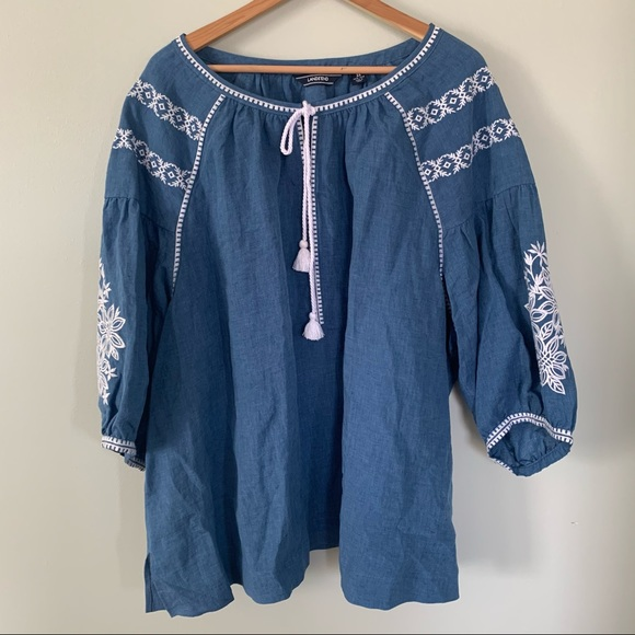 Lands' End Embroidered Linen Blouse • 3X